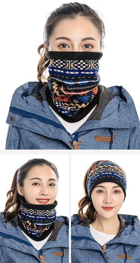 (預購S) 多功能百變加絨防風拉繩圍脖帽