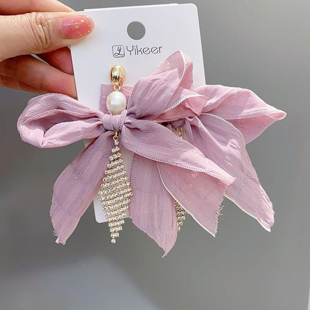 🇰🇷布藝珍珠鑲鑽耳環