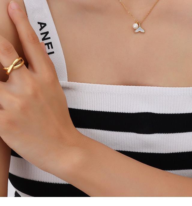 歐美IG風飾品小眾簡約魚尾仿珍珠設計項鏈鎖骨頸鏈鈦鋼鍍18K金女