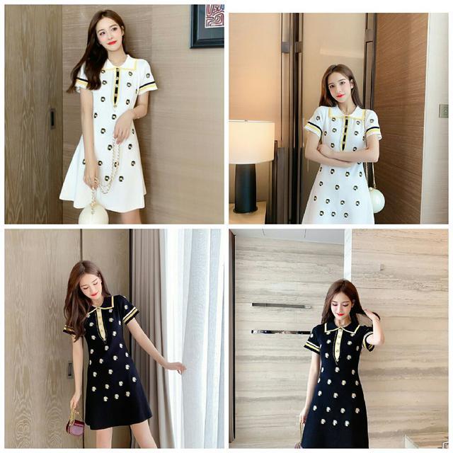預購6-9天快速到貨新款優雅刺繡小雛菊針織連衣裙