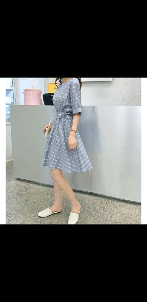 2019新款韓版夏季寬鬆修身收腰A字裙大擺裙短袖條紋連衣裙女