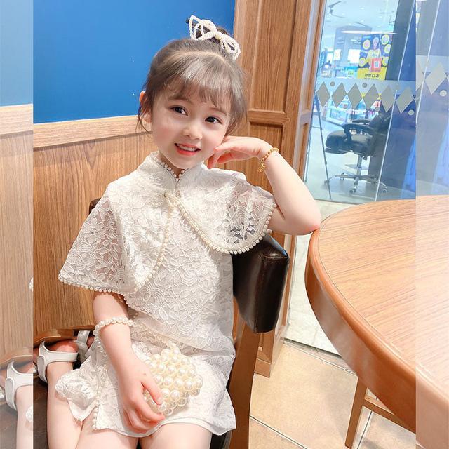 ⚜夏装旗袍女童網红短袖漢服小童装