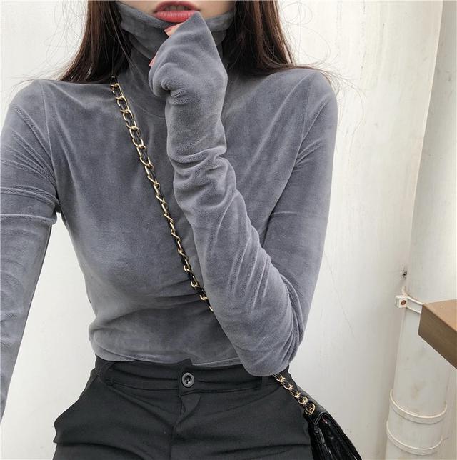 11 流行款 M-2XL 韓版 高領加絨上衣(2色)