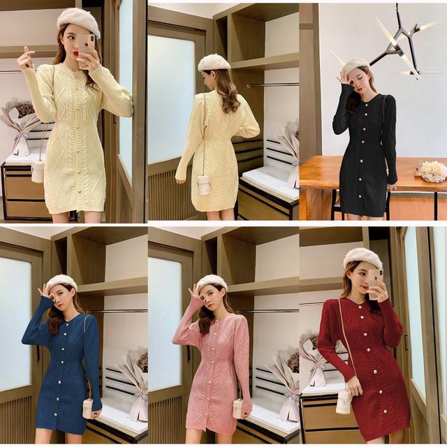 預購秋季新款法式小眾收腰麻花針織連衣裙