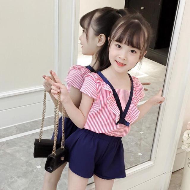 夏季新款夏季V字条纹套全女童時尚百搭爆款套裝女孩子可愛套裝