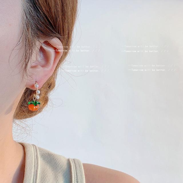 小柿子淡水珍珠耳環女 甜美時尚復古氣質手作可愛水果IG耳飾直播