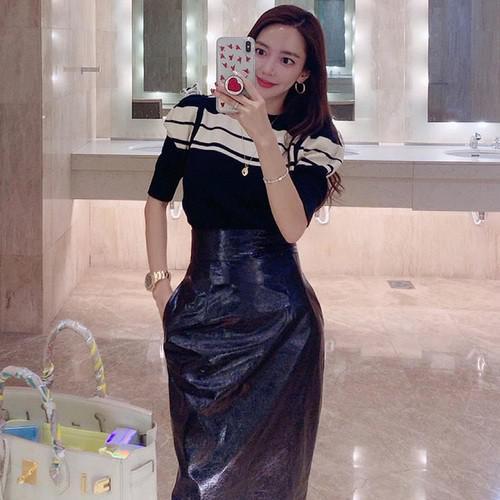 11 韓國時尚 休閒拼色條紋中袖針織衫(2色)
