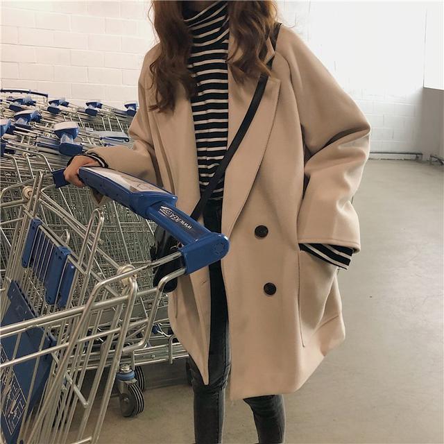 11 復古中長款雙排扣毛呢大衣外套(2色)