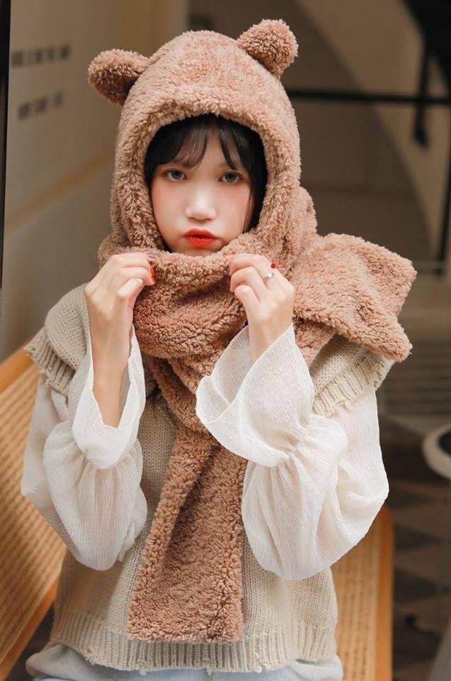 可愛小熊耳朵毛絨帽子圍巾