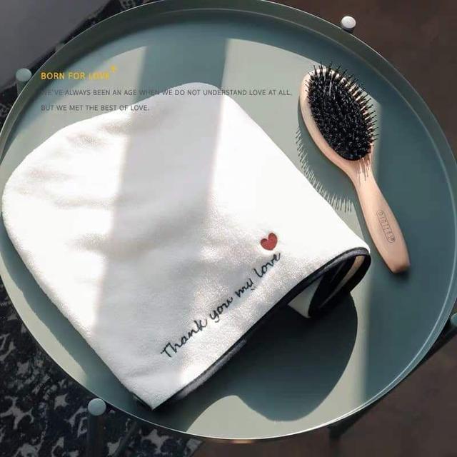 現貨2(預購S)LOVE加厚珊瑚絨超強吸水乾髮帽