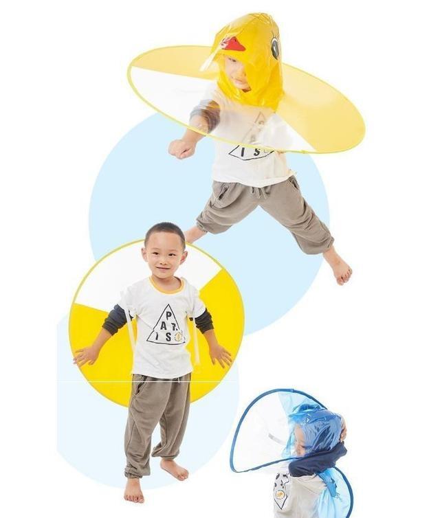 (預購e) 超可愛兒童頭戴式卡通雨衣