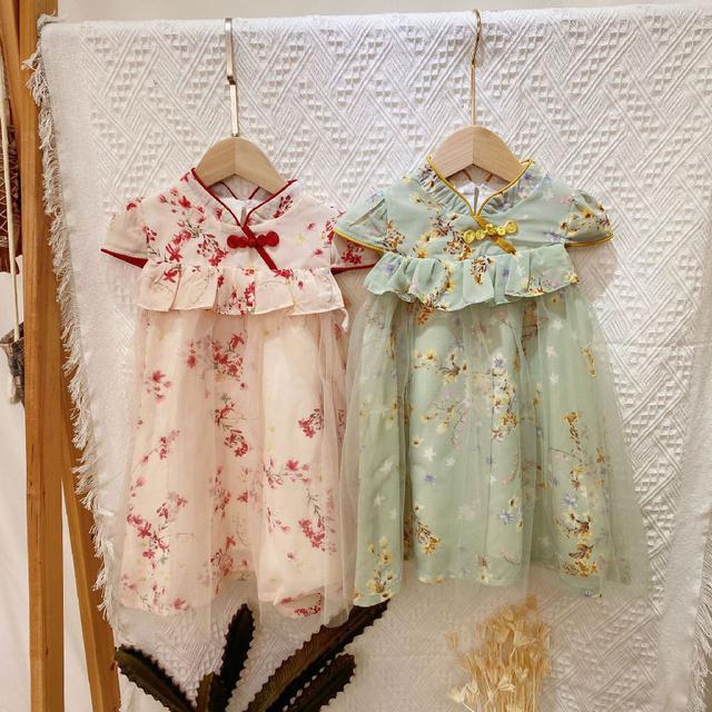 21女童碎花甜美中國風復古旗袍公主裙改良式旗袍網紗雪紡拼接款