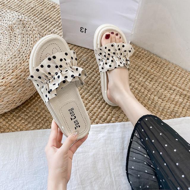 (預購)網红同款運動ins潮夏天凉拖鞋女外穿時尚點點厚底鞋