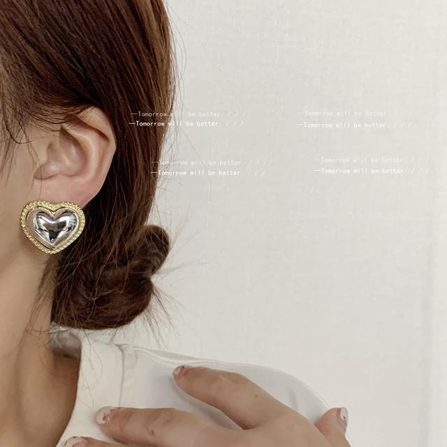 高級感冷淡風光面愛心雙色耳釘女925銀針日韓IG時尚街拍耳飾耳環
