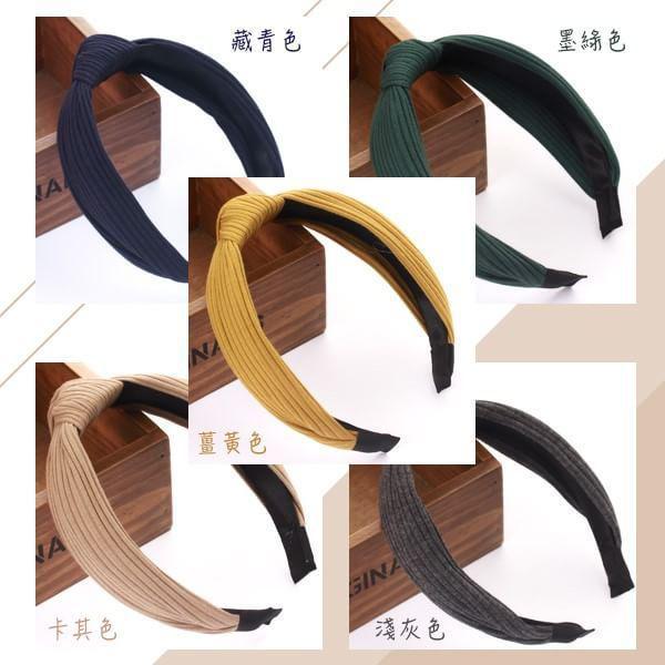 寬邊布藝針織交叉素色髮箍