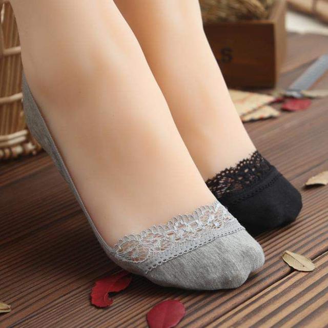 (預購S) 純棉防滑蕾絲隱形襪(一組5雙)