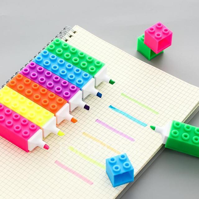 《積木造型彩色螢光筆》