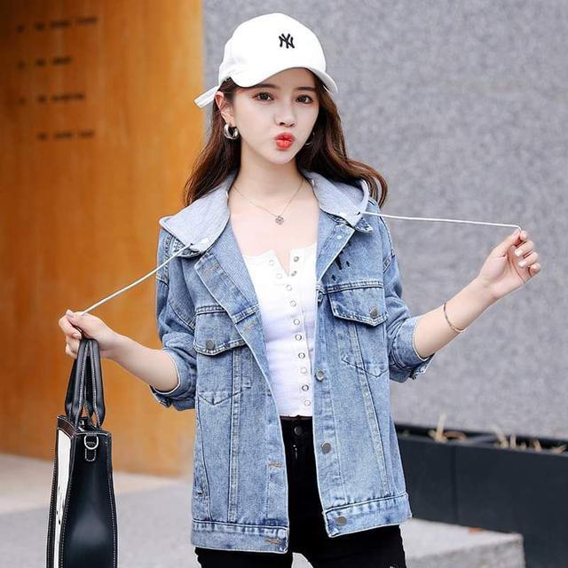 【預購】韓版刺繡連帽牛仔外套