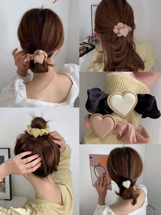 日系馬卡龍愛心完美髮圈(一組三條/各一)