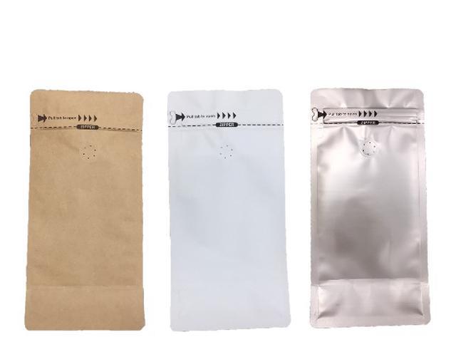 咖啡豆平底夾鏈袋 半磅/一磅 三色可選(玫瑰金/霧面白/牛皮色)
