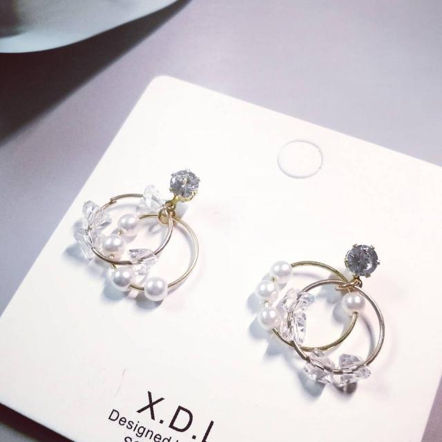 韓版 甜美水晶珍珠 925銀針