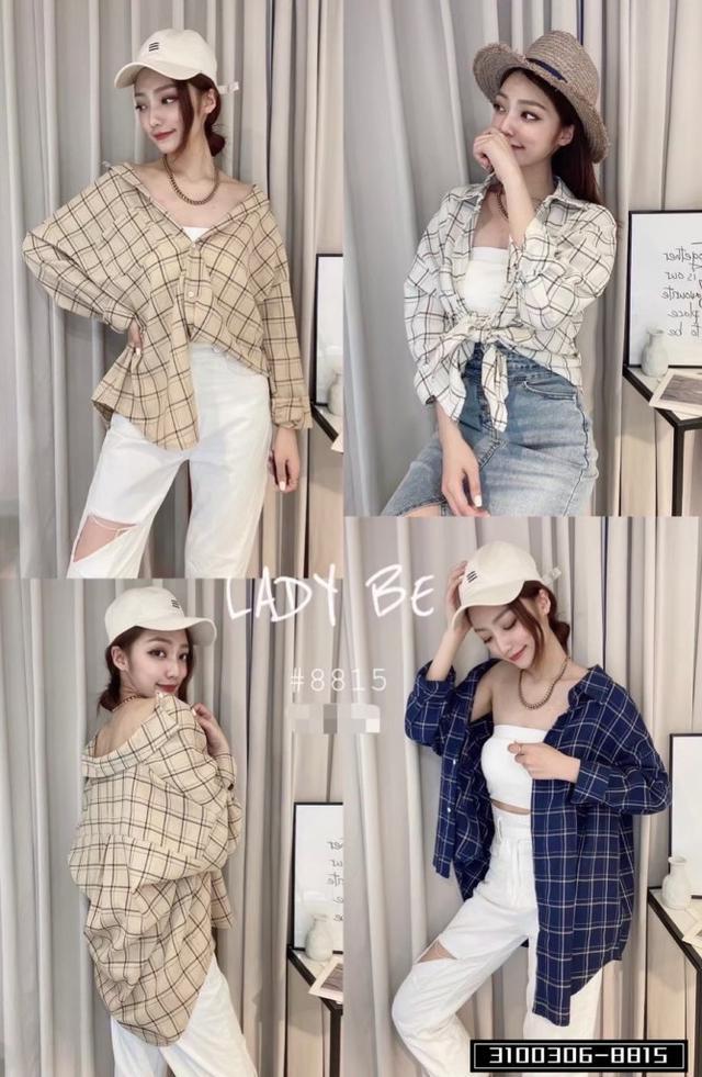 正韓女裝 復古格子襯衫 百變穿法 可帥氣可甜美