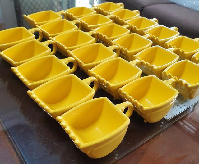 陶瓷黃色挖斗咖啡杯/怪手挖斗/模型