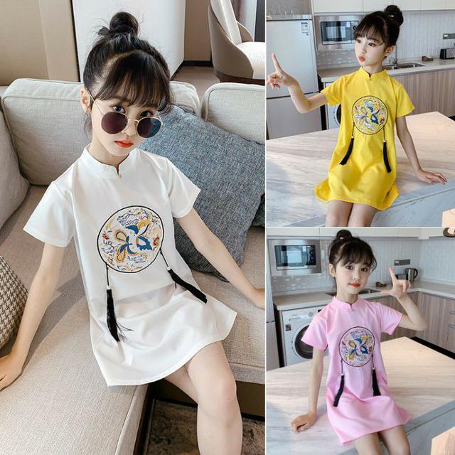 兒童女童中國風改良旗袍短袖修身粉色小女孩唐裝禮服春夏季時髦
