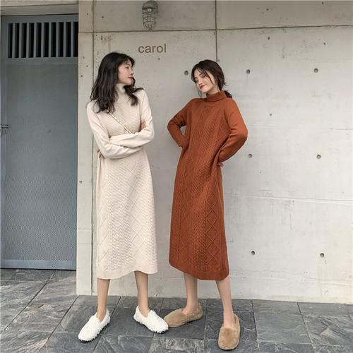 B 12/11 高領加厚麻花針織中長款連衣裙 (2色)