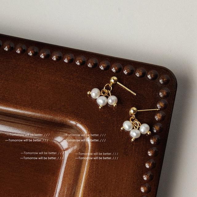 巴洛克淡水珍珠~925銀針手作設計感復古宮廷耳釘女 氣質耳飾 耳環