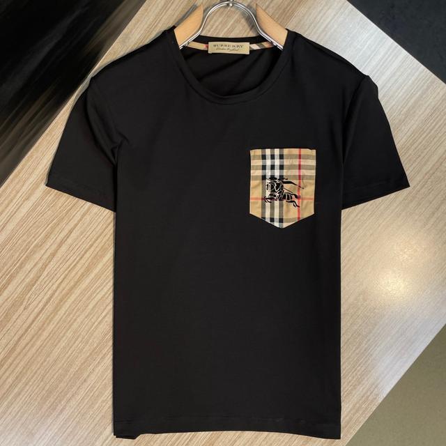 【精品男士短袖】Burberry短T巴寶莉短袖  男生夏季新款圓領純棉短袖T恤 男款半袖上衣男生衣著