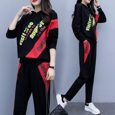 11 流行款 L-4XL 韓版 大碼字母長袖 運動套裝(2色)