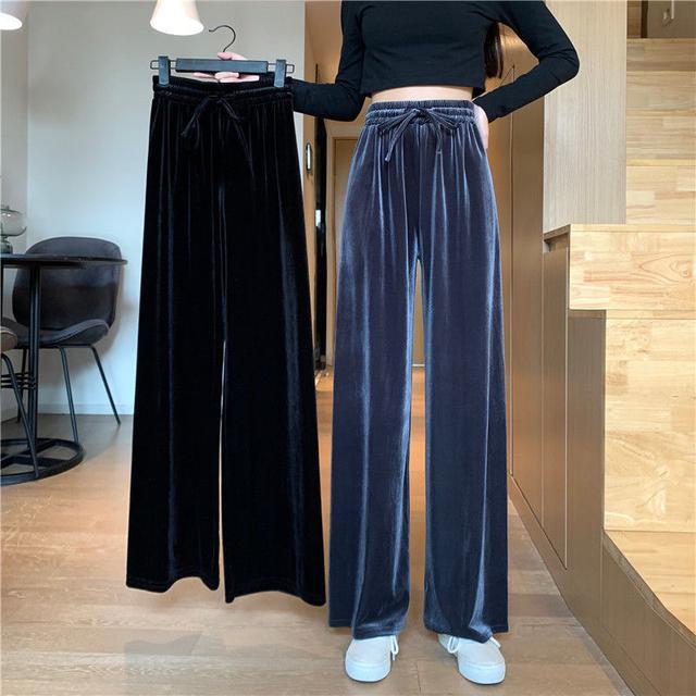 秋季2020新款韓版簡約百搭拖地長褲闊腿褲子顯瘦高腰直筒休閒褲女