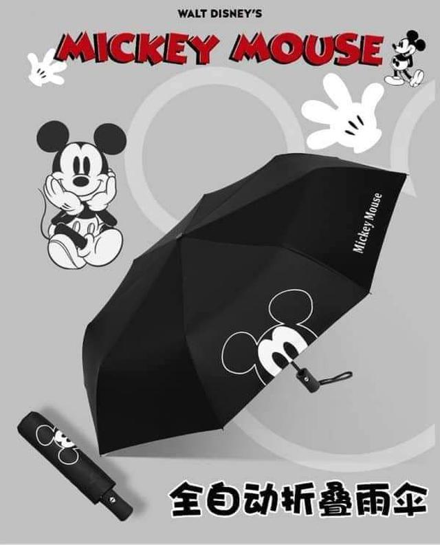 米奇黑膠晴雨全自動折疊傘