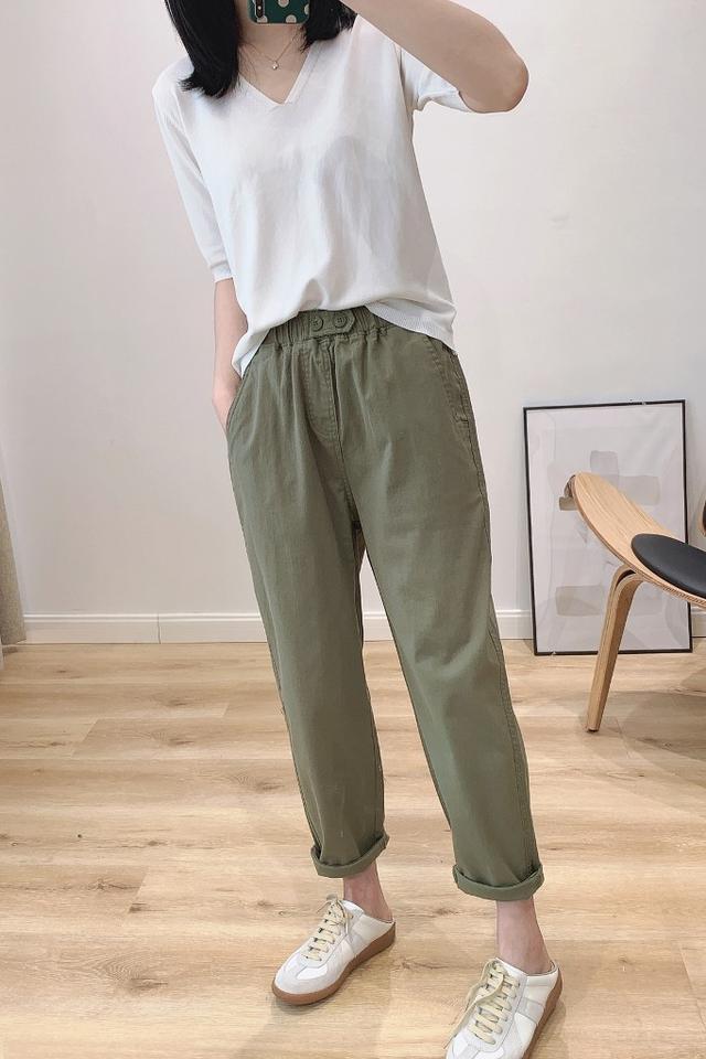預購/韩版雙扣鬆紧腰弹力水洗纯棉寬鬆小直筒(H)