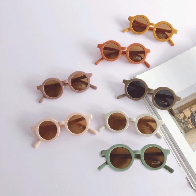 韓國ins風奶油色系兒童圓框太陽眼镜
