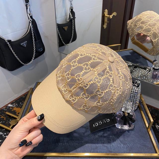 GUCCI古奇2020新品蕾丝拼接镂空棒球帽 最近热度之最