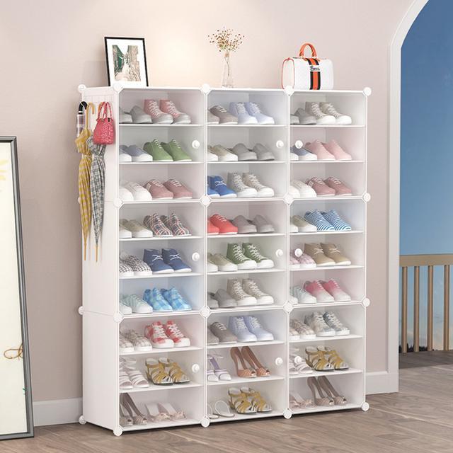 DIY創意 升級門有把鞋櫃 簡易防塵小鞋架 組裝經濟型
