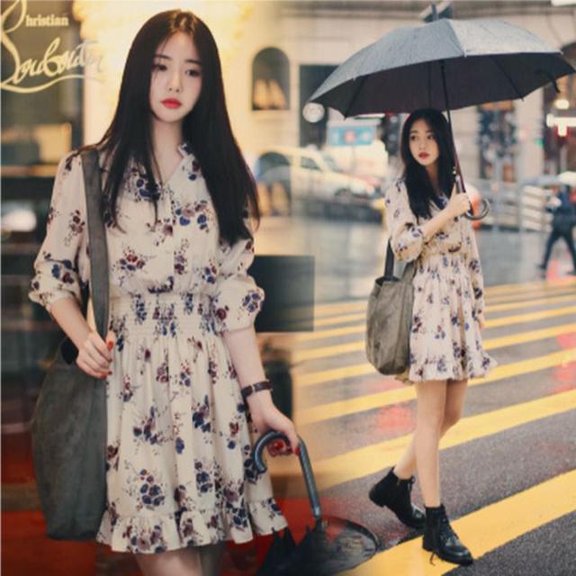2021春裝新款韓版時尚寬鬆長袖裙子收腰時尚百搭小碎花雪紡連衣裙
