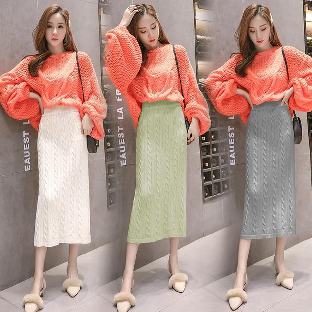10 針織半身裙女開叉中長款長裙 五色