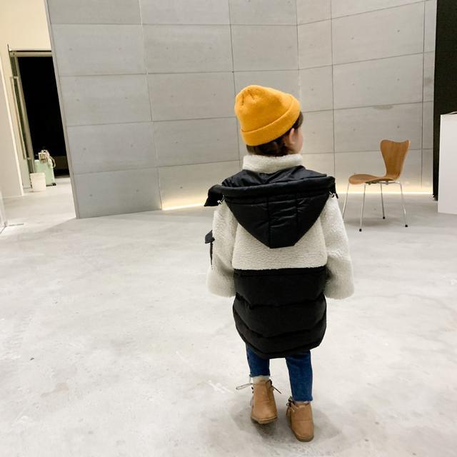 女童洋氣韓版拼色羽絨服2021新款中長款兒童冬裝白鴨絨外套