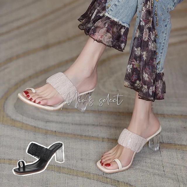 💋Mio's 法式溫柔氣質透明點點網紗設計一字水晶中高跟鞋夾腳跟鞋高跟涼拖鞋水晶跟鞋法式高跟鞋