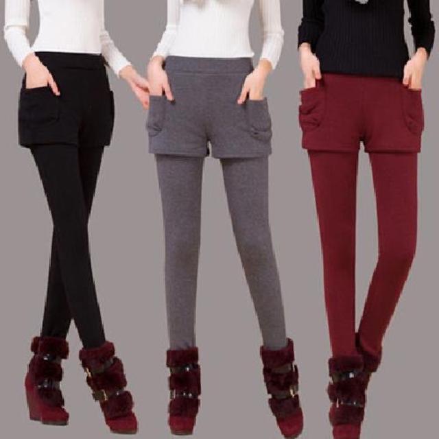 時尚假兩件打底褲外穿保暖女打底褲冬天加絨加厚女打底褲女褲