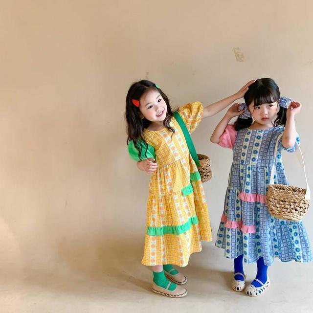 『預購』韓版格子花朵中長洋裝