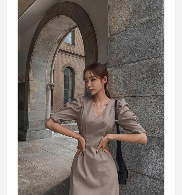 正韓蓬蓬袖連衣裙