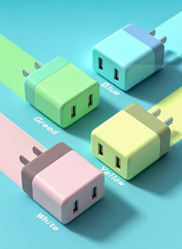 【預購】馬卡龍雙色5V2A雙USB快充豆腐頭/充電頭