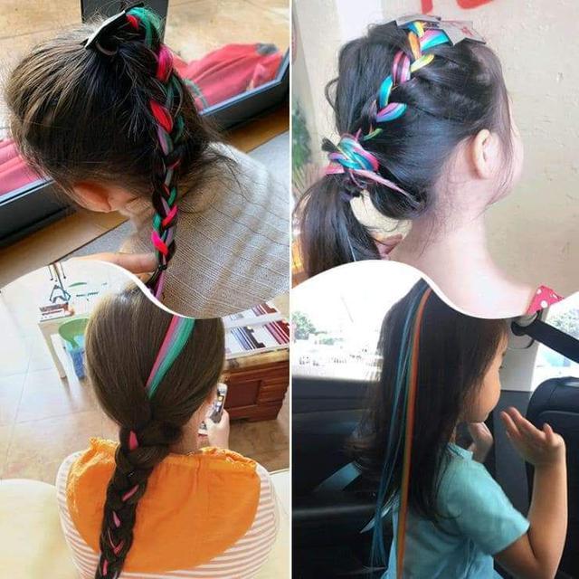 現貨1(預購S)女童可愛炫彩繽紛假髮髮夾(一組3個)