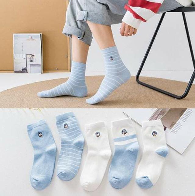 (預購S) B041 - 中筒襪A夢KT防磨後腳跟中筒襪 (一組5雙)