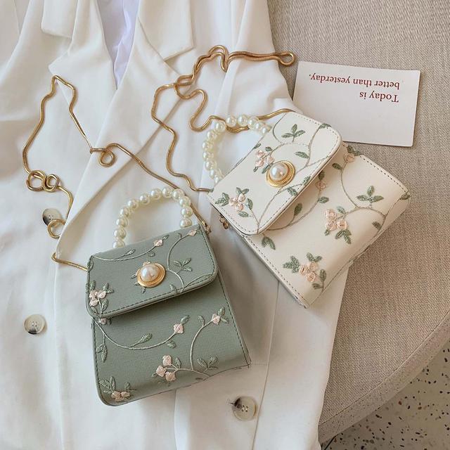 (預購)夏天新款珍珠手提小方包蕾絲鏈條斜挎包