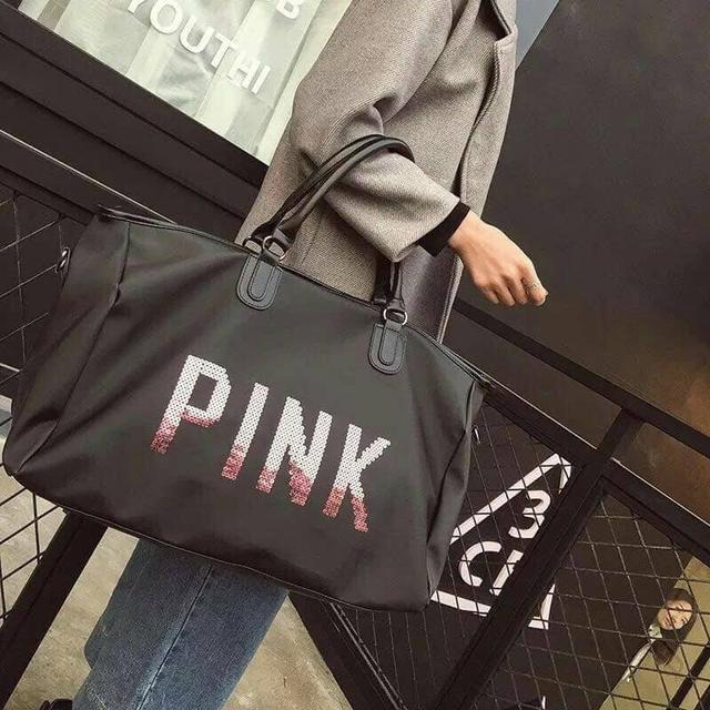 【N.T.F-預購+現貨款】pink亮片字母旅行包